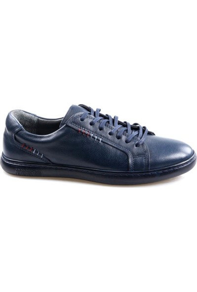 Goes 727 Kauçuk Taban Lacivert Günlük Erkek Deri Ayakkabı