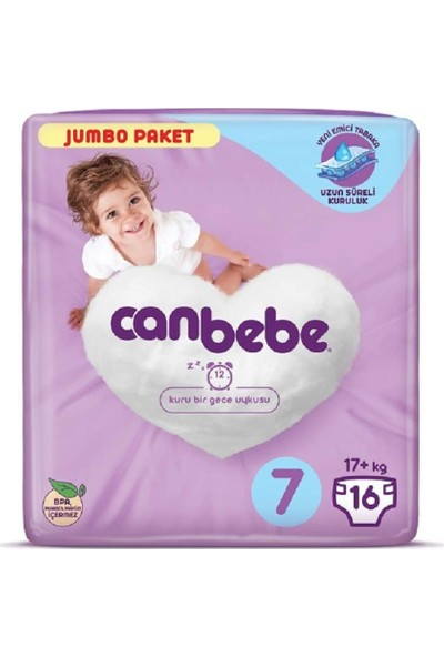 Canbebe Bebek Bezi 7 Beden 16'lı