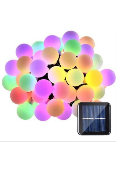 Led Dükkanı 50 Led 7 Metre Renkli Solar Bahçe Teras Balkon Ağaç Lambası Aydınlatması