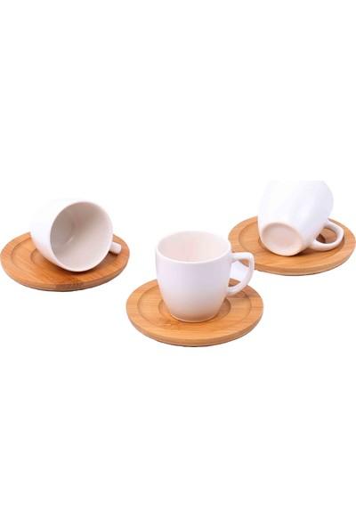 Paçi Keramika Bambu Tabaklı Krem Kahve Fincan Takımı