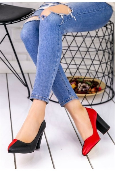 8Stil Dena Siyah Kırmızı Topuklu Ayakkabı