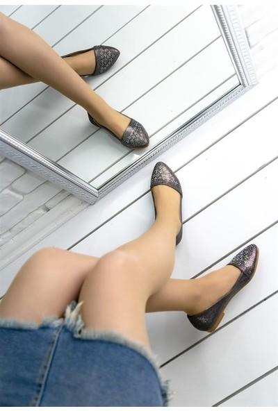 8Stil Diletta Platin Cilt Babet Ayakkabı