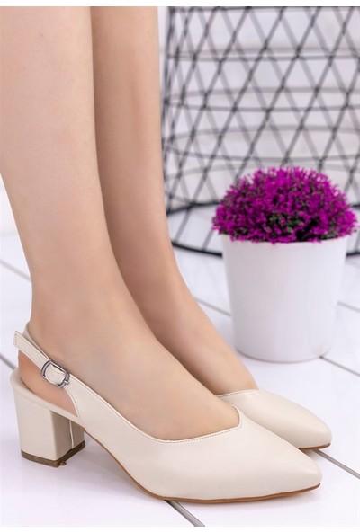 8Stil Janet Krem Cilt Topuklu Ayakkabı