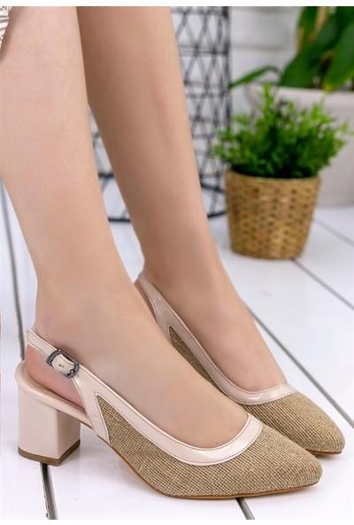 8Stil Janet Vizon Hasır Rugan Detaylı Topuklu Ayakkabı