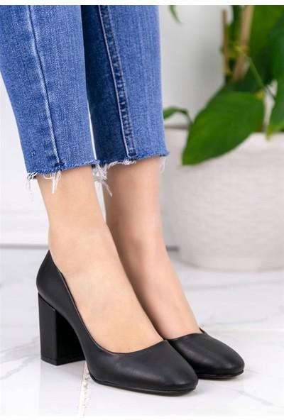 8Stil Jeani Siyah Cilt Topuklu Ayakkabı