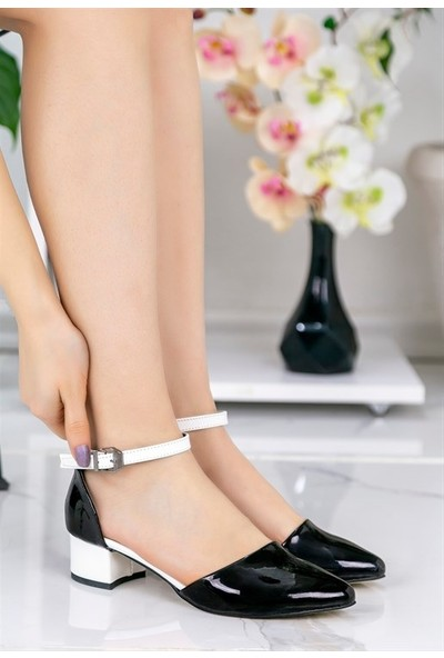 8Stil Pavla Siyah Rugan Beyaz Topuklu Ayakkabı