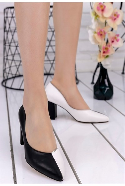 8Stil Wilona Siyah Beyaz Cilt Siyah Topuklu Ayakkabı