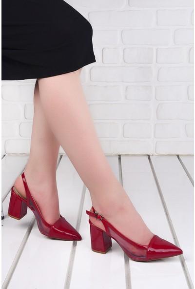Ayakland 1022 Cilt Şeffaf 7 cm Topuk Kadın Topuklu Sandalet Ayakkabı Kırmızı