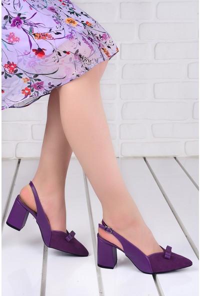 Ayakland 1033 Süet 7 cm Topuk Kadın Topuklu Sandalet Ayakkabı Mor