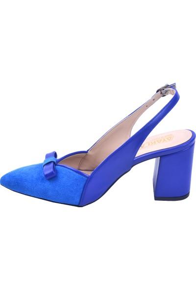 Ayakland 1033 Süet 7 cm Topuk Kadın Topuklu Sandalet Ayakkabı Saks
