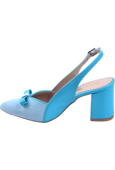 Ayakland 1033 Süet 7 cm Topuk Kadın Topuklu Sandalet Ayakkabı Suyesılı