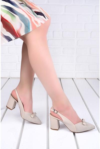 Ayakland 1033 Süet 7 cm Topuk Kadın Topuklu Sandalet Ayakkabı Ten
