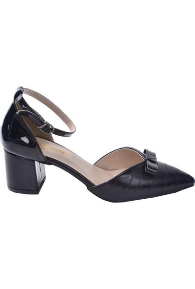 Ayakland 1052 Cilt Ekose 5 cm Topuk Kadın Topuklu Sandalet Ayakkabı Siyah