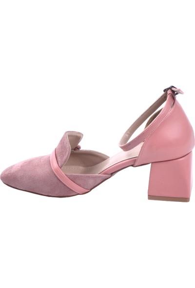 Ayakland 1137 Süet 5 cm Topuk Kadın Topuklu Sandalet Ayakkabı Pudra