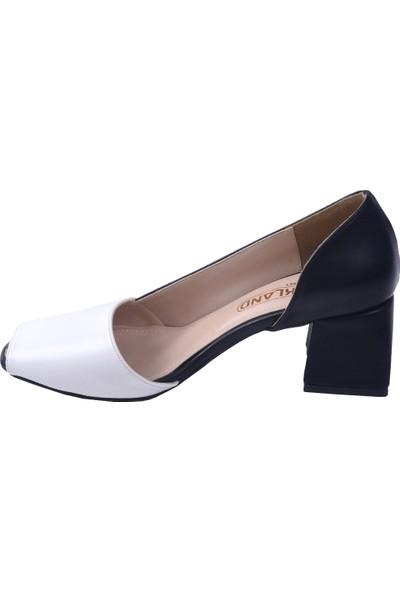Ayakland 1139 Cilt 5 cm Topuk Kadın Topuklu Sandalet Ayakkabı Beyaz