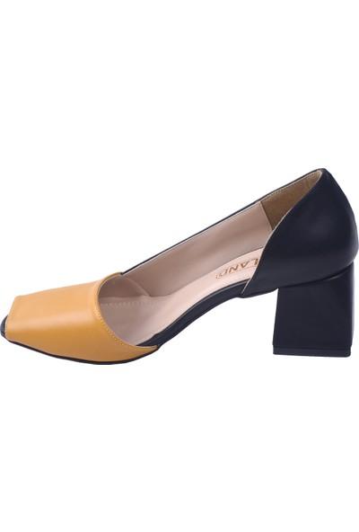 Ayakland 1139 Cilt 5 cm Topuk Kadın Topuklu Sandalet Ayakkabı Hardal