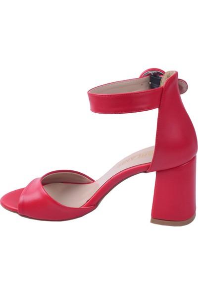 Ayakland 1218 Cilt 7 cm Topuk Kadın Topuklu Sandalet Kırmızı