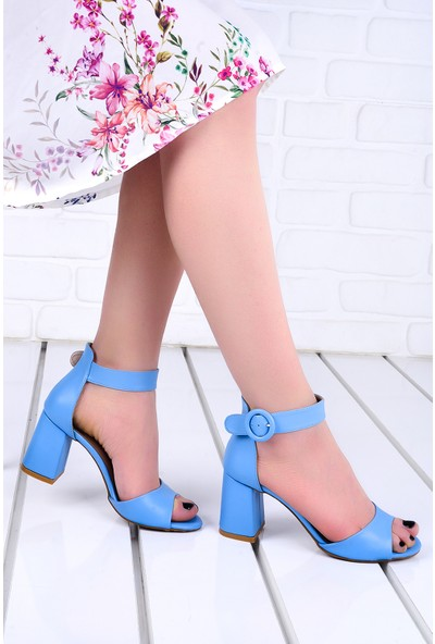 Ayakland 1218 Cilt 7 cm Topuk Kadın Topuklu Sandalet Mavi