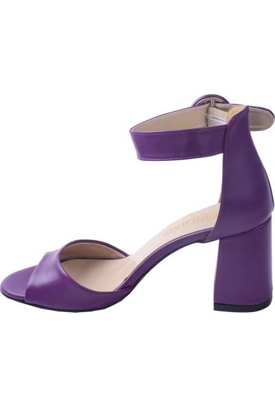 Ayakland 1218 Cilt 7 cm Topuk Kadın Topuklu Sandalet Mor