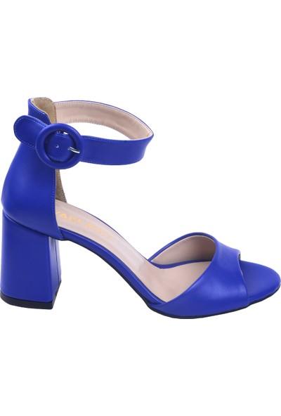 Ayakland 1218 Cilt 7 cm Topuk Kadın Topuklu Sandalet Saks