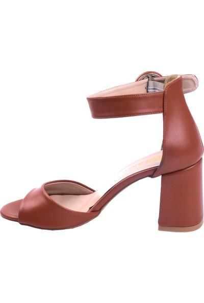 Ayakland 1218 Cilt 7 cm Topuk Kadın Topuklu Sandalet Taba
