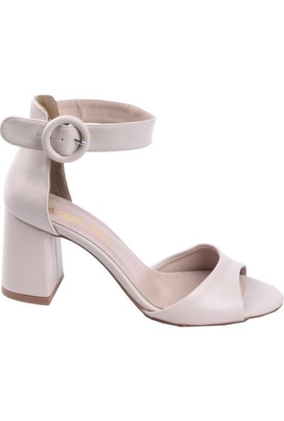 Ayakland 1218 Cilt 7 cm Topuk Kadın Topuklu Sandalet Ten