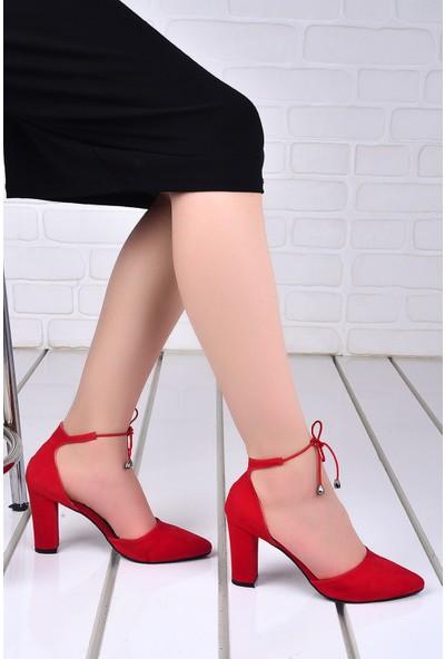 Ayakland 137029-1160 9 cm Topuk Kadın Süet Sandalet Ayakkabı Kırmızı