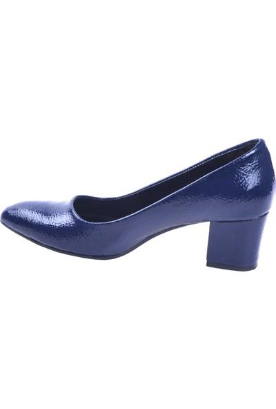 Ayakland 1990-2023 Kırık Rugan 5 cm Topuk Kadın Ayakkabı Lacivert