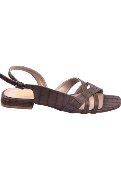Ayakland 259 Ekose Günlük Babet Kadın Sandalet Ayakkabı Vızon