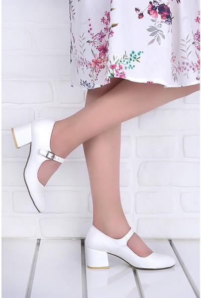 Ayakland 97544-318 5 cm Topuk Kadın Cilt Sandalet Ayakkabı Beyaz