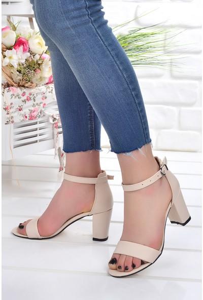 Ayakland Bsm 62 Cilt 7 cm Topuk Kadın Sandalet Ayakkabı Ten