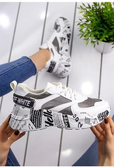 8Stil Addie Beyaz Cilt Gri Detaylı Spor Ayakkabı