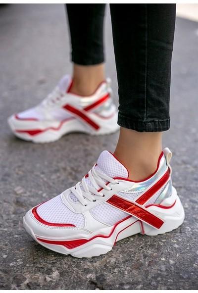 8Stil Tenni Beyaz Cilt Kırmızı Detaylı Spor Ayakkabı