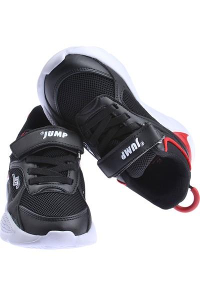 Jump 24931 Günlük Cırtlı Kız/erkek Çocuk Spor Ayakkabı Siyah-Kırmızı