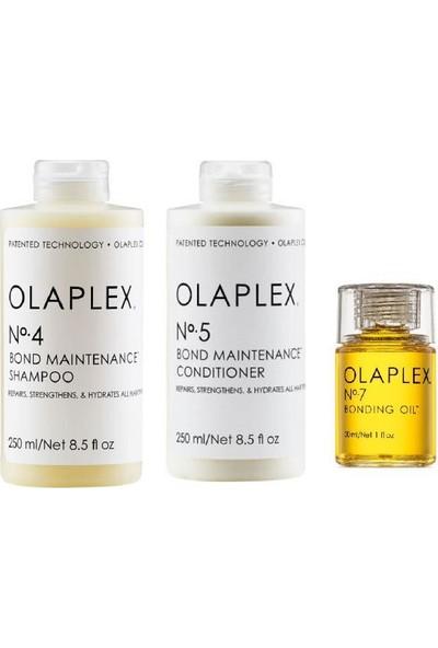 Olaplex No:4 Şampuan 250 ml - No:5 Bakım Kremi 250 ml - No:7 Bakım Yağı 30 ml