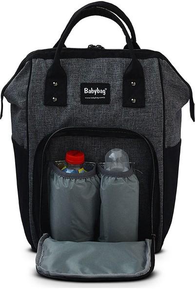 BabyBag Anne Bebek Bakım Sırt Çantası Gri - Siyah