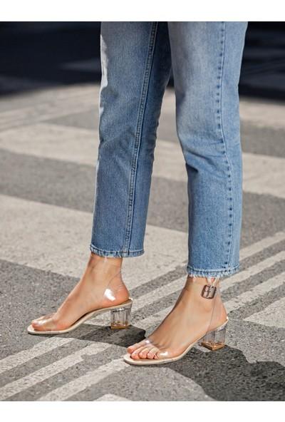 My Poppi Shoes Victoria Ten 5 cm Şeffaf Topuklu Kadın Ayakkabı