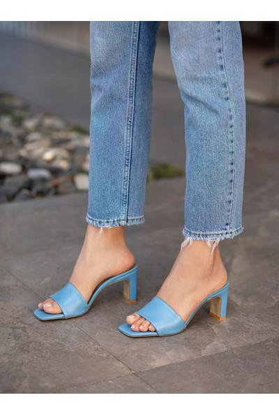 My Poppi Shoes Lazio Bebe Mavisi 7 cm Topuklu Kadın Terlik