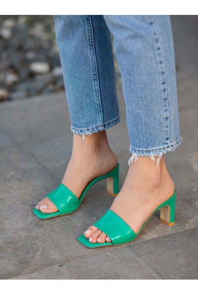 My Poppi Shoes Lazio Yeşil 7 cm Topuklu Kadın Terlik