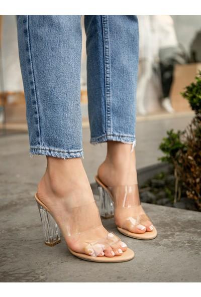 My Poppi Shoes Larin Ten 10 cm Şeffaf Topuklu Kadın Terlik