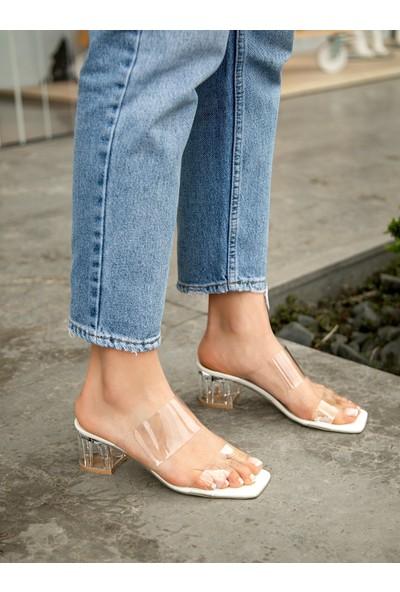 My Poppi Shoes Larin Beyaz 5cm Şeffaf Topuklu Kadın Terlik