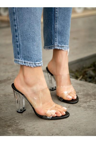 My Poppi Shoes Larin Siyah 10 cm Şeffaf Topuklu Kadın Terlik