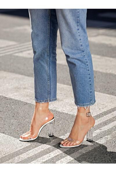 My Poppi Shoes Victoria Beyaz 10 cm Şeffaf Topuklu Kadın Ayakkabı