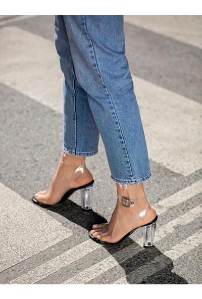 My Poppi Shoes Victoria Siyah 10 cm Şeffaf Topuklu Kadın Ayakkabı