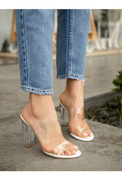 My Poppi Shoes Larin Beyaz 10 cm Şeffaf Topuklu Kadın Terlik