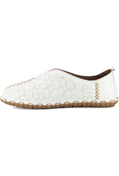 Eşle 20Y 3515 Kadın Deri Espadril Ayakkabı Beyaz