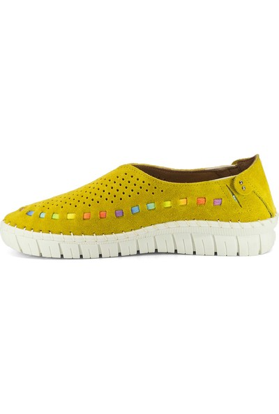 Eşle 20Y 3547 Kadın Deri Espadril Ayakkabı Sarı