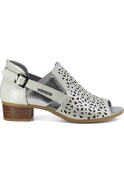 Mammamia D20Ya-3345 Kadın Deri Sandalet Beyaz
