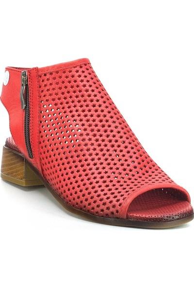 Mammamia D20Ys-1105 Kadın Deri Sandalet Kırmızı