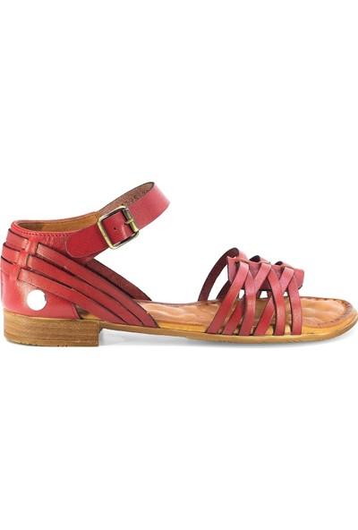 Mammamia D20Ys-1195 Kadın Deri Sandalet Kırmızı